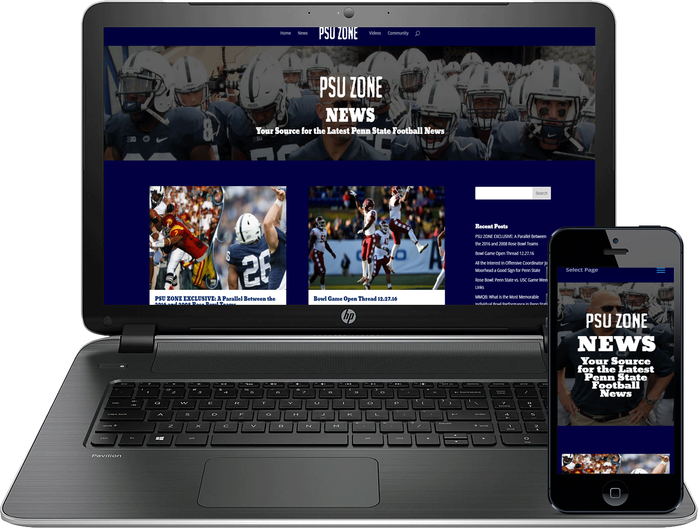 PSU Zone Website Design by Atticus Marketing